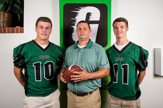 Fairfield football head coach Jason Thurston poses for a photo with players Zach Koons, left, and Joey Quealy during YAIAA football media day in Hanover on Thursday, August 2, 2018.