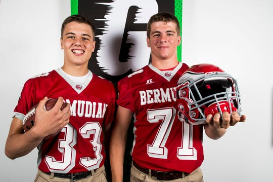 Bermudian Springs players Trace Grim, left, and Nate McCollum pose for a photo during YAIAA football media day in Hanover on Thursday, August 2, 2018.