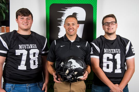 South Western football head coach Chris Heilman poses with seniors Tyler Herbison, left, and Dalton Stacho during YAIAA football media day in Hanover on Thursday, August 2, 2018. Heilman, who has been coaching in the South Western program since 2001, is entering his second season as head coach.