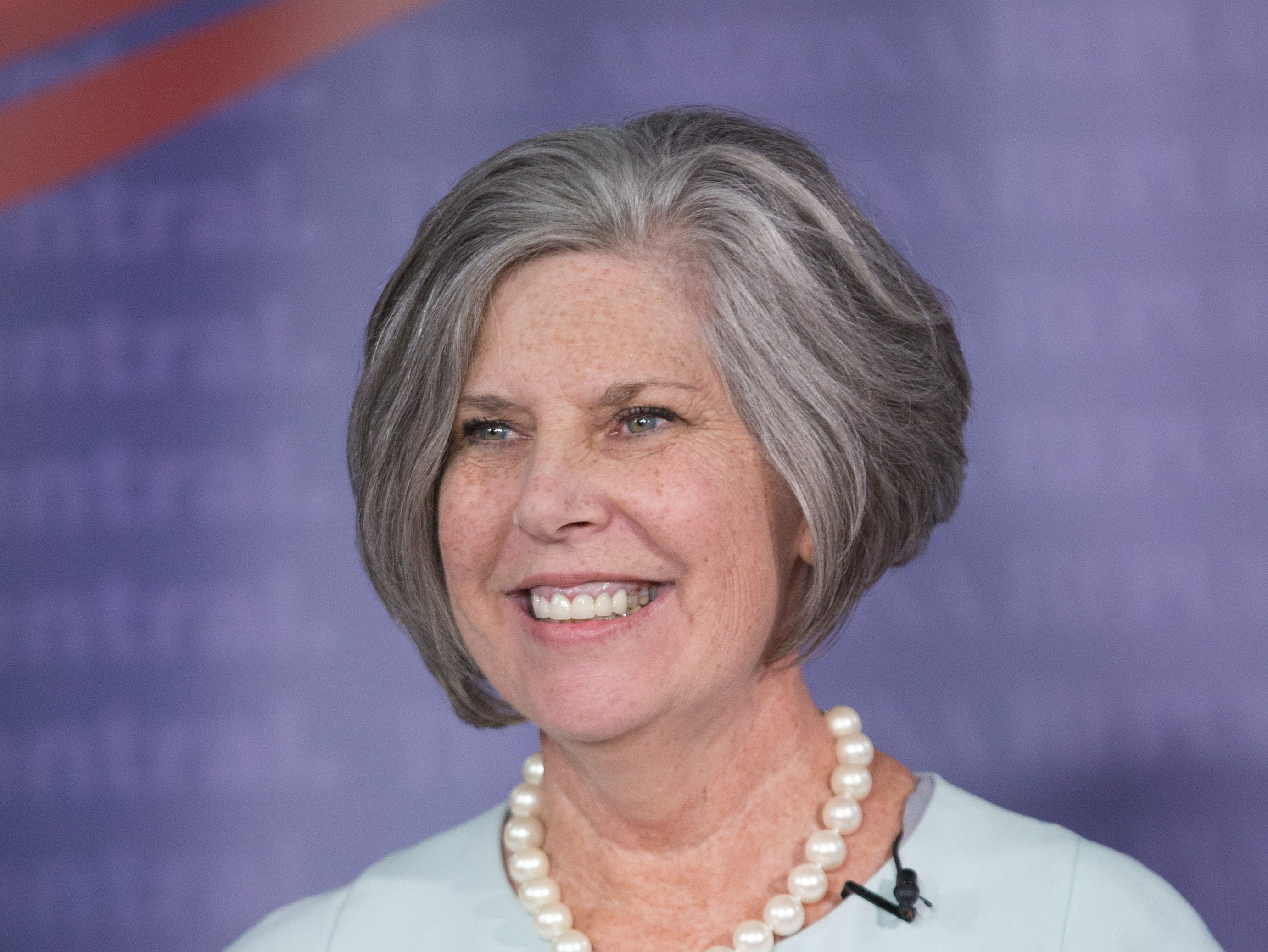 Tracy Livingston, candidate for state superintendent of public instruction, speaks during a debate at The Arizona Republic on August 1, 2018.