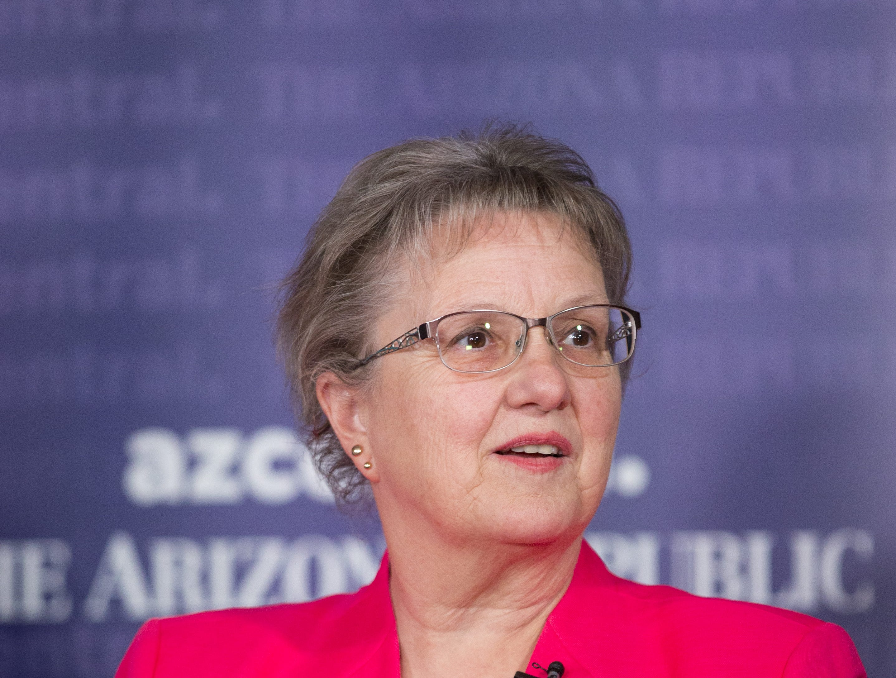 Diane Douglas, who is running for re-election for state superintendent of public instruction, speaks during a debate at azcentral.com on August 1, 2018.