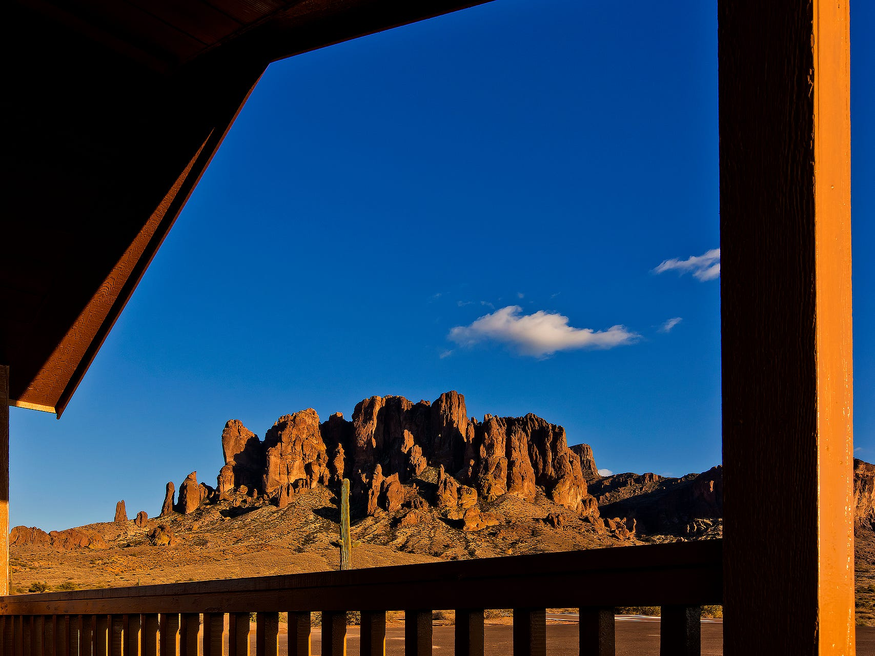 A view of the Superstition Mountains from a cabin at Lost Dutchman State Park.