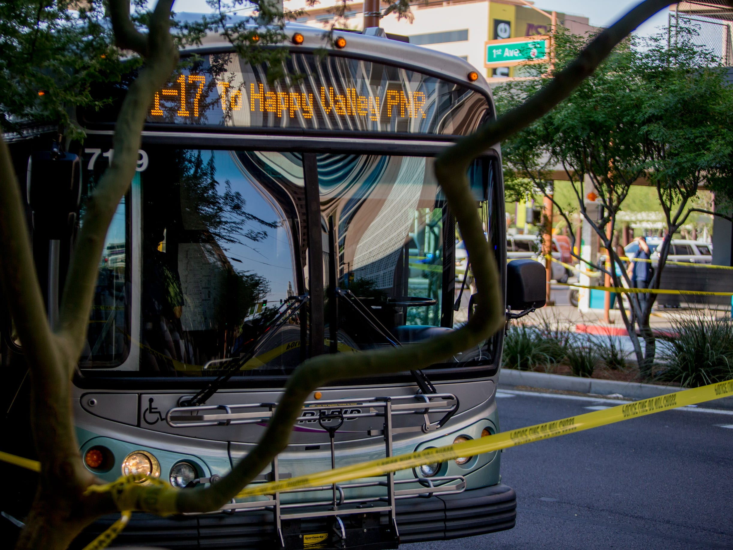 A city bus struck a pedestrian on August 1, 2018, on the corner of 1st Avenue and East Van Buren Street.