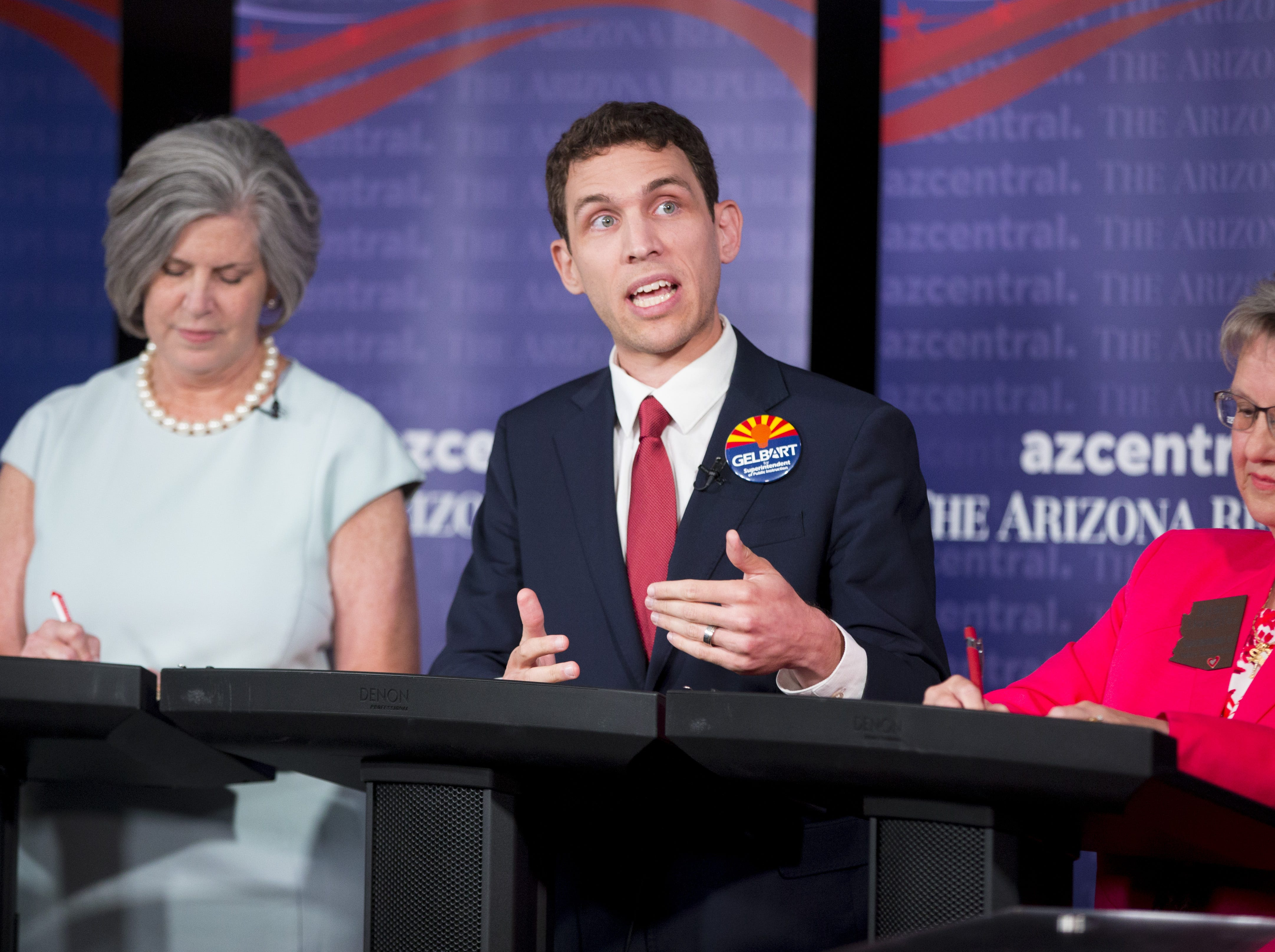 Jonathan Gelbart, candidate for state superintendent of public instruction, speaks during a debate at The Arizona Republic on August 1, 2018.