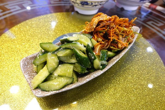 Cucumber salad and sliced pig ears at Shaanxi Garden in Mesa.