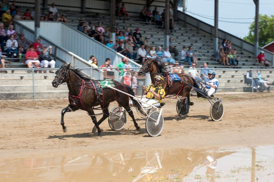 Tim Roach and Regal Quest, left, pass Paul Cloer and Online Learning while racing Thursday, Aug. 2, 2018, at the Croswell Agricultural Fair in Croswell.