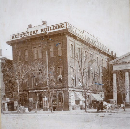 The site of the old Chambersburg Trust building, currently home to the Franklin County Commissioners on Memorial Square, was formerly the home of the Franklin Repository in the 19th century.