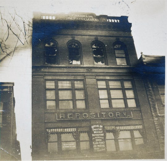 A. Nevin Pomeroy moved the Franklin Repository to this building on North Main Street in the early 1900s. A fire occurred on the fourth floor on March 5, 1909.