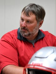Dover High School head coach Wayne Snellbaker at York-Adams football media day in August. Snelbaker hopes his Eagles are prepared for their game against Red Land Friday after playing just four days prior against Elizabethtown. John A. Pavoncello photo
