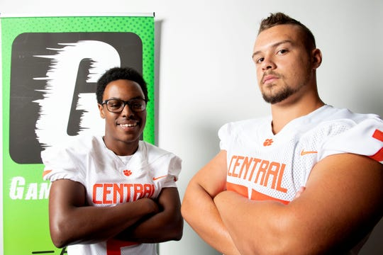 Central York's Darnell Johnson, left, and Devin Gaffney pose for a photo during YAIAA football media day in Hanover on Thursday, August 2, 2018.