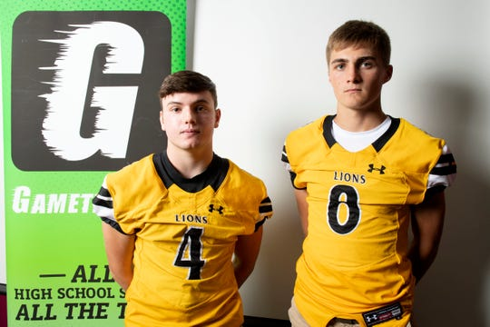 Red Lion's Tyler Ness, left, and Ben Hornberger pose for a photo during YAIAA football media day in Hanover on Thursday, August 2, 2018.