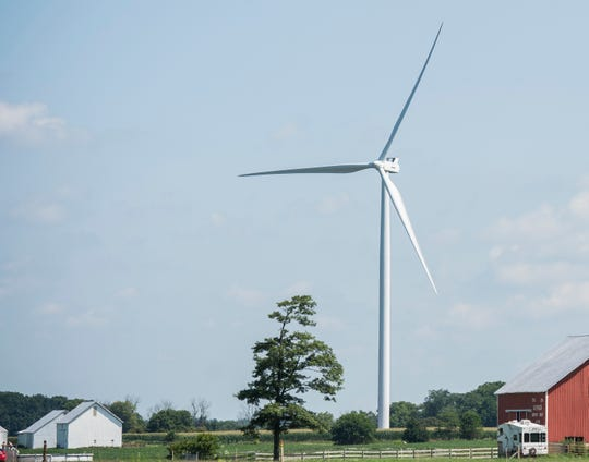 A wind turbine is seen in rural southern Randolph County on Thursday, Aug. 2, 2018.