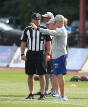 Bills head coach Sean McDermott gets a chance to go over rule changes with visiting NFL officials at training camp.