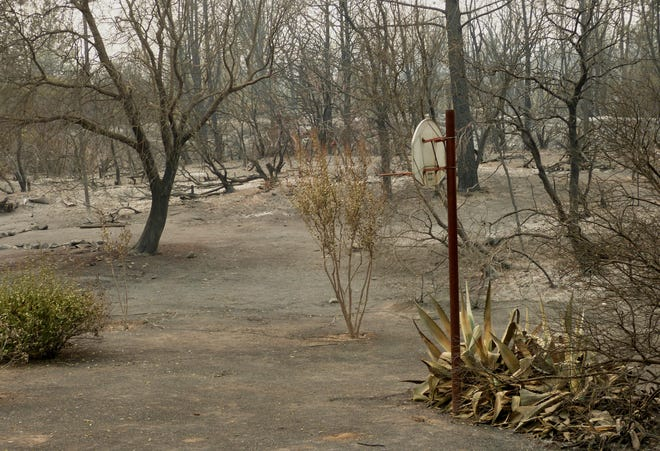 Ash, a lot of it, has buried this part of the Keswick area due to the Carr Fire.