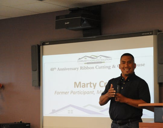 Marty Cruz, 37, speaks about how Community Homeless Solutions helped him escape homelessness at the nonprofit's 40th anniversary.