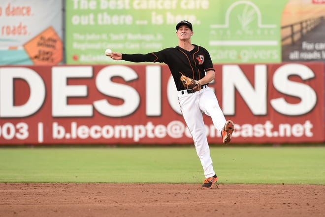 Delmarva Shorebirds' Branden Becker with play at second against the Lakewood BlueClaws on Wednesday, August 1, 2018 at the Arthur W. Perdue Stadium in Salisbury, Md.