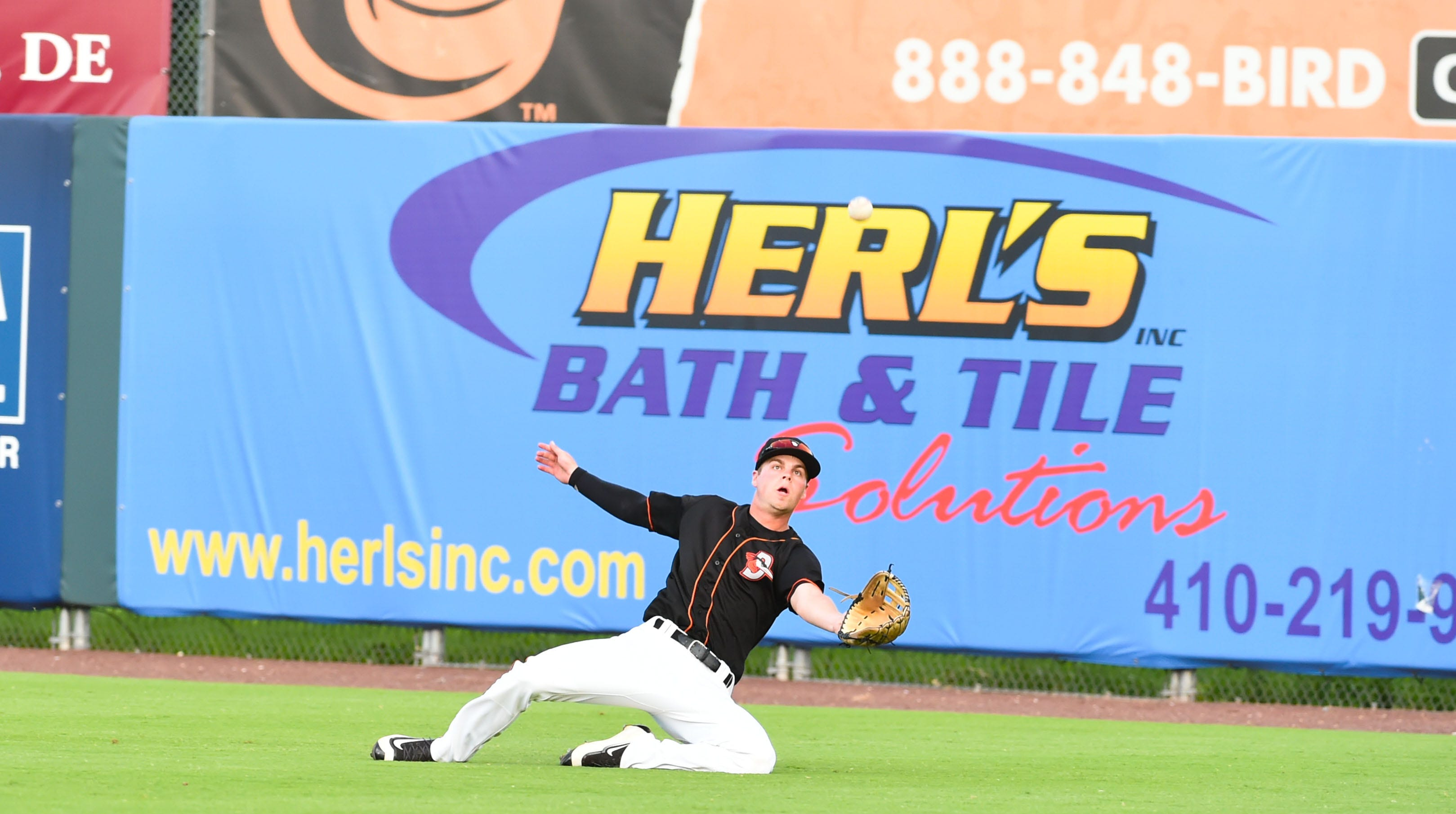 Delmarva Shorebirds' Will Robertson dives for a catch against the Lakewood BlueClaws on Wednesday, August 1, 2018 at the Arthur W. Perdue Stadium in Salisbury, Md.