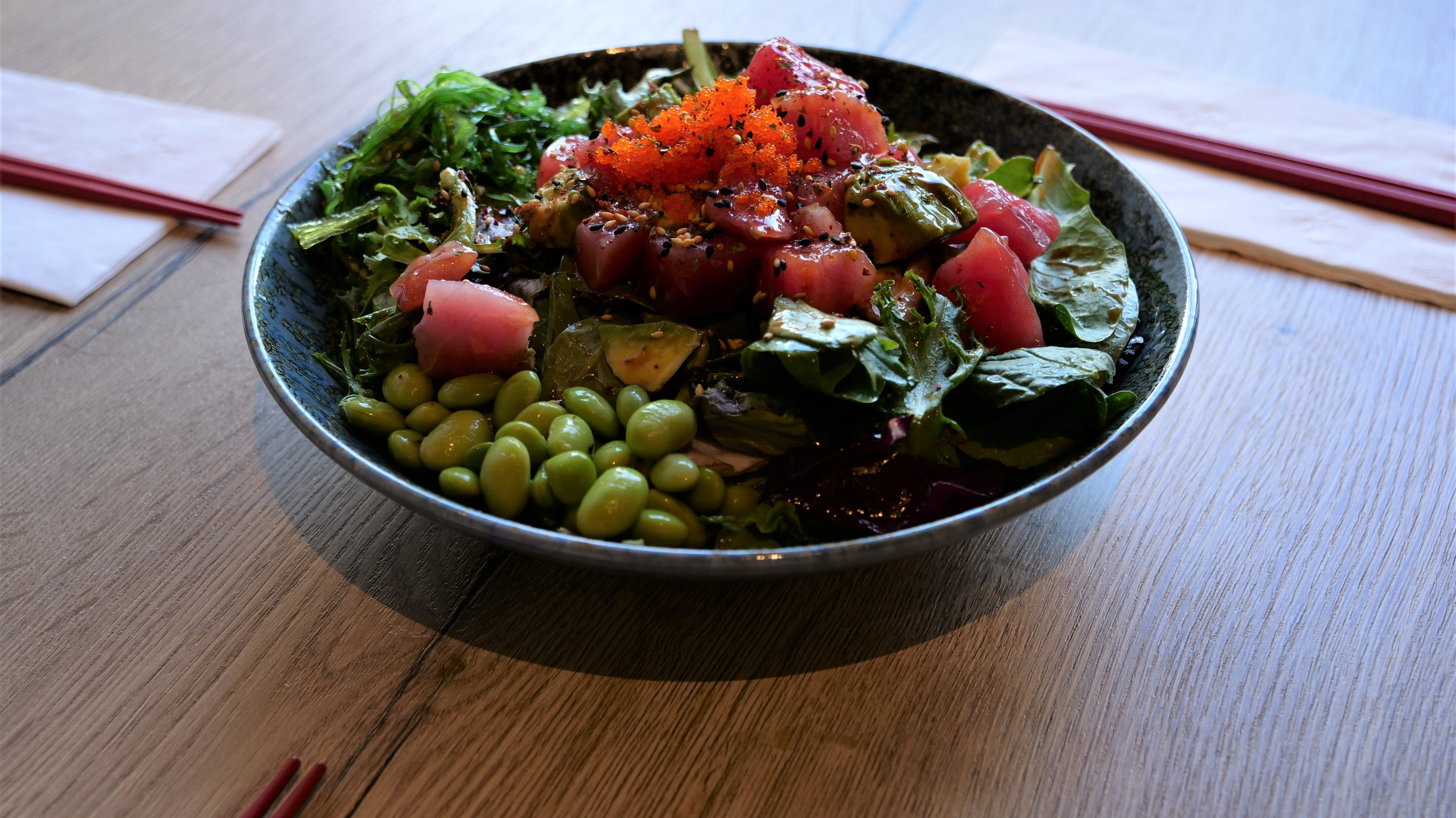 The ever-popular rice bowl is offered at Miyagi Ramen Bar in Rehoboth Beach, this one a vessel for perfectly raw tuna, roe, edamame, avocado and seaweed over poke-dressed greens.