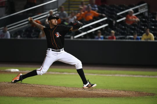 Delmarva Shorebirds' Jhon Peluffo on the mound against the Lakewood BlueClaws on Wednesday, August 1, 2018 at the Arthur W. Perdue Stadium in Salisbury, Md.
