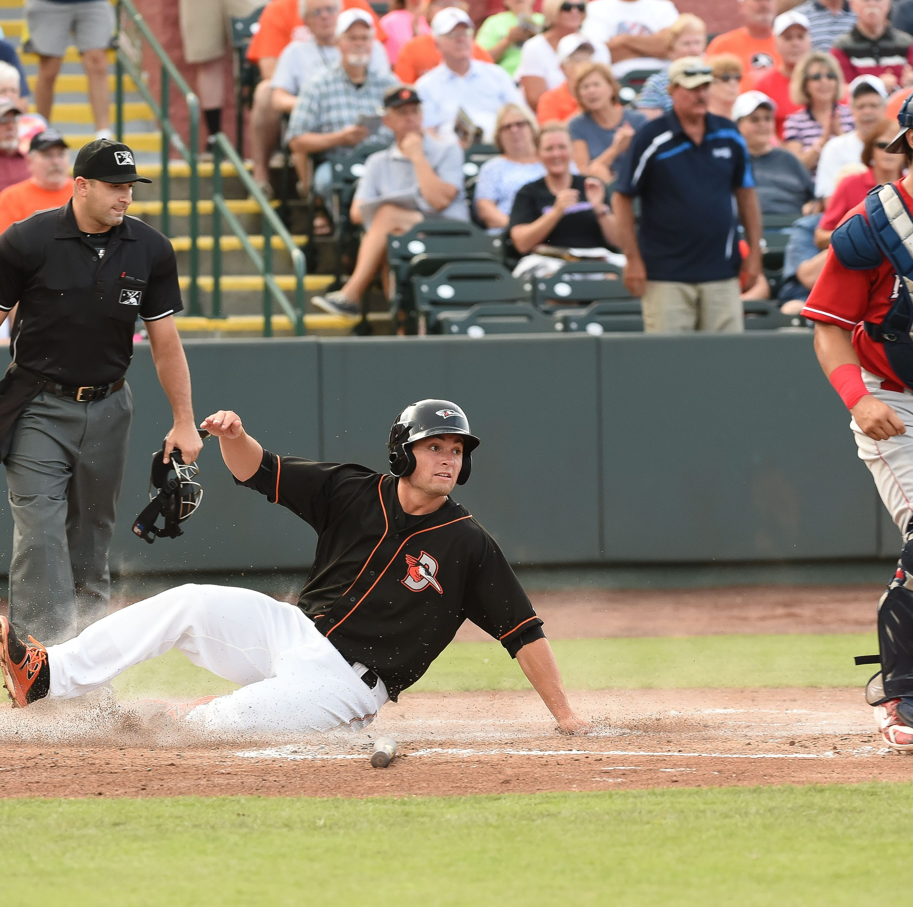 Delmarva Shorebirds' Tevor Craport slides into home  against the Lakewood BlueClaws on Wednesday, August 1, 2018 at the Arthur W. Perdue Stadium in Salisbury, Md.