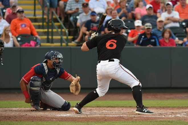 Delmarva Shorebirds' Max Hogan had a Home Run in the 2nd inning against the Lakewood BlueClaws on Wednesday, August 1, 2018 at the Arthur W. Perdue Stadium in Salisbury, Md.