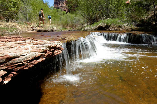 Several waterfalls highlight the Subway trail at Zion National Park.