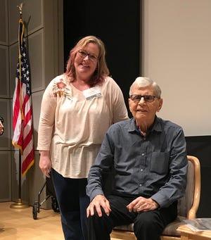 Maclay teacher Lauren Fantle (left) with Holocaust survivor Fritz Gluckstein during the Holocaust Memorial Museum Teacher Fellowship Program.