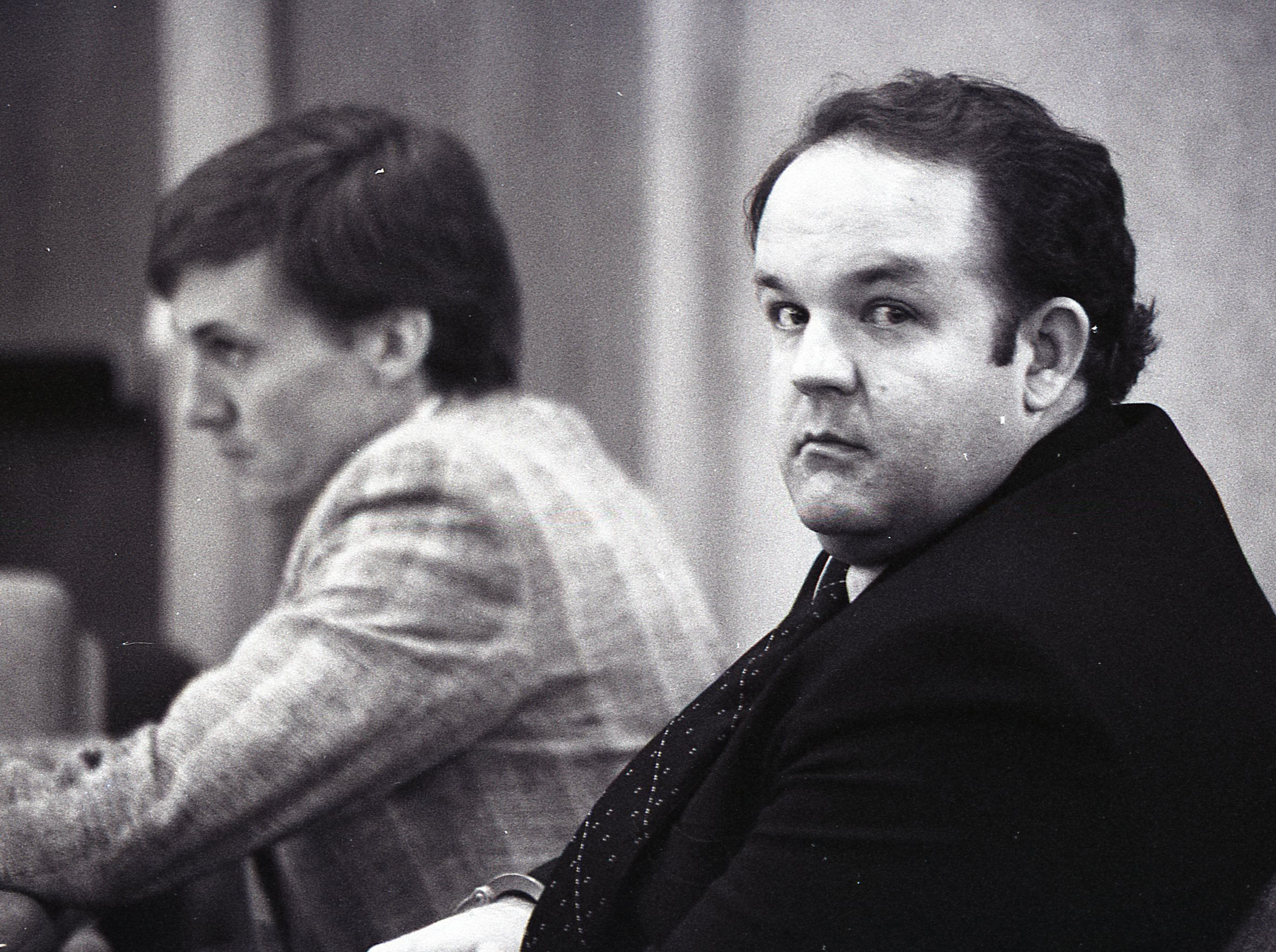 David Alan Gore (right) sits flanked by his attorneys during the proceedings in April of 1992 where an argument was made for a stay of execution for Gore. The request was granted by the Florida Supreme Court on April 29, 1988.