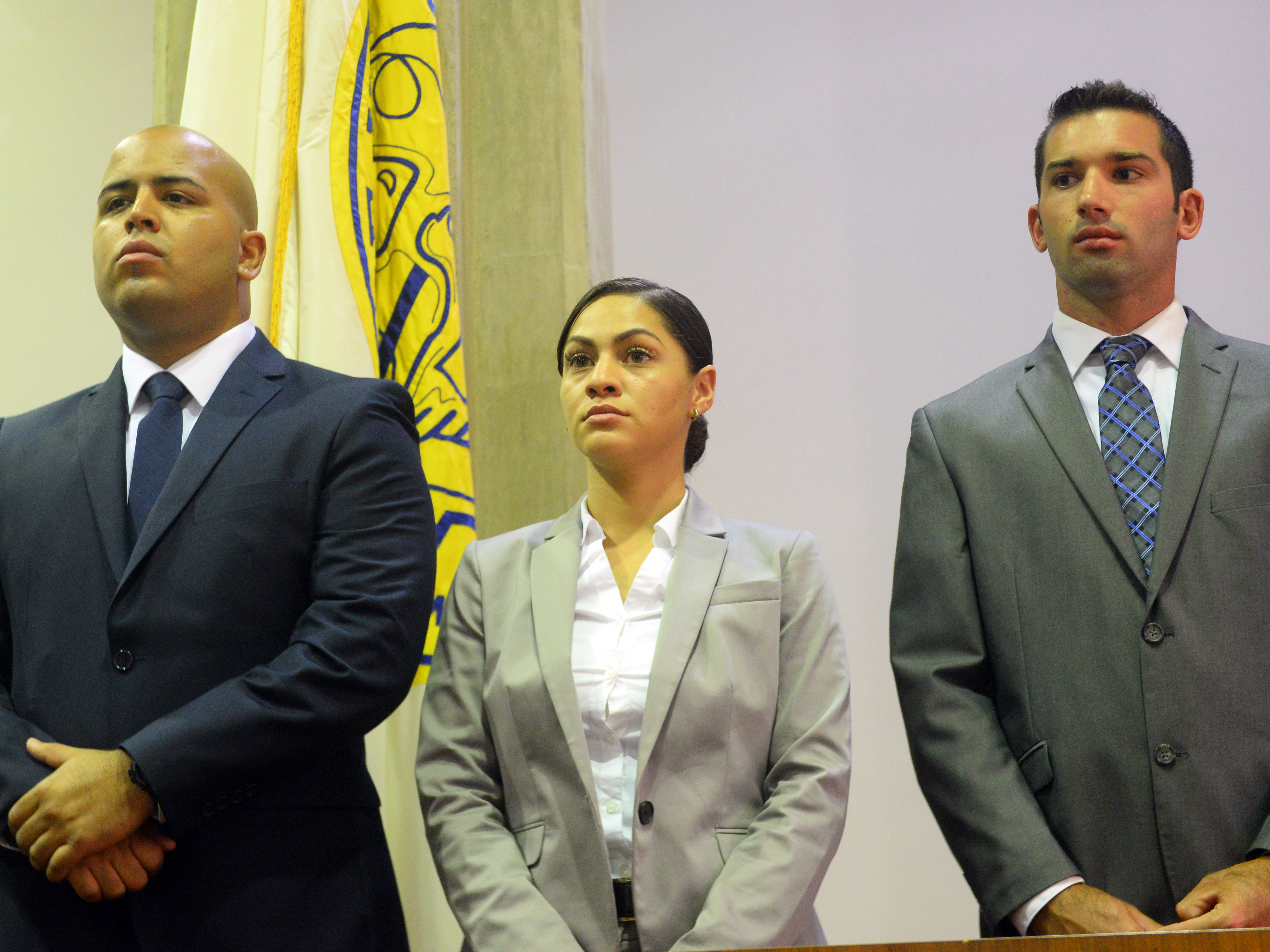 Vineland Police welcome three new recruits, pictured from left to right, Kyle J. Arbona, Kaylene Cosme and Daniel Miller Jr., on Thursday, August 2.
