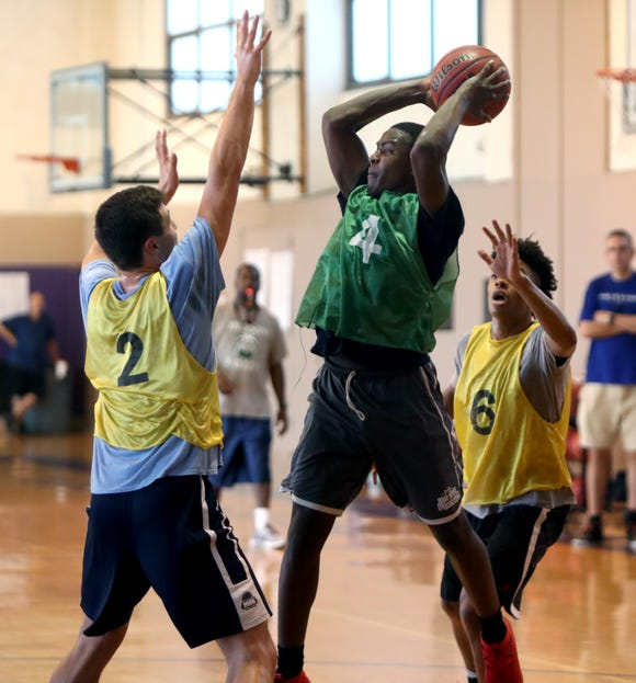 Peekskill's Shion Darby during a Hudson Valley boys basketball team practice at the Masters School in Dobbs Ferry Aug. 1, 2018. They will be competing in the BCANY Summer Hoops Festival in Johnson City Aug. 3-5.