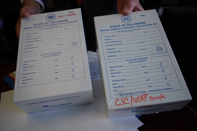 A sample box used by the State of Delaware to collect evidence and DNA when a victim has been sexually assaulted.