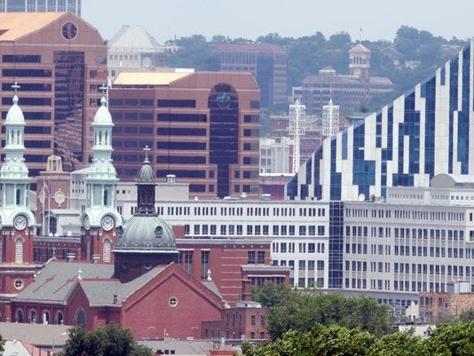 The RiverCenter Towers, home to Ashland Inc. headquarters since 1998, is the tallest part of the Covington skyline. Ashland Oil, founded in Ashland, Kentucky, will move its headquarters to Delaware.