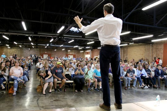U.S. Rep. Beto O'Rourke gives a speech at his town hall at the Stone Palace Wednesday, Aug. 1, 2018, as part of O'Rourke's 34-day grassroots drive across Texas.
