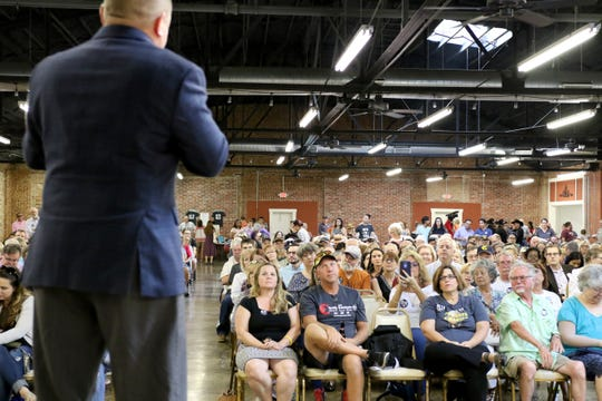 Kevin Lopez, Democratic candidate for Texas Senate District 30, speaks at U.S. Rep. Beto O'Rourke town hall at the Stone Palace Wednesday, Aug. 1, 2018, as part of O'Rourke's 34-day grassroots drive across Texas.
