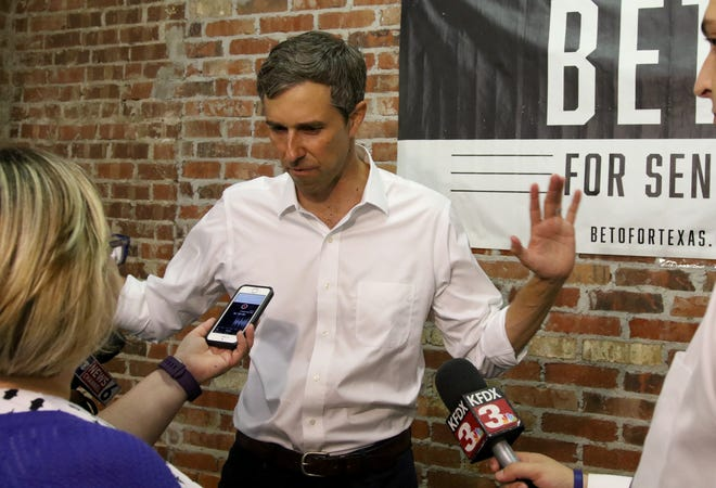 U.S. Rep. Beto O'Rourke is interviewed after his town hall at the Stone Palace Wednesday, Aug. 1, 2018, as part of O'Rourke's 34-day grassroots drive across Texas.