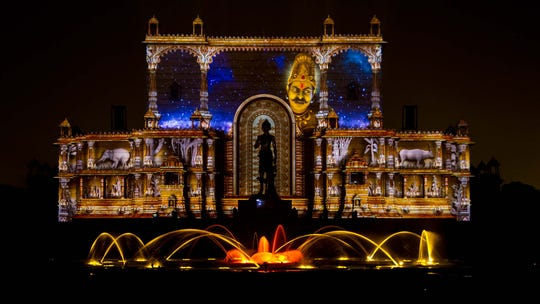 The Sahaj Anand Water Show, held in a Hindu temple complex in New Delhi, India, wows visitors nightly with a dramatic water, fire, laser and fireworks show inspired by a story from a sacred Sanskrit text.