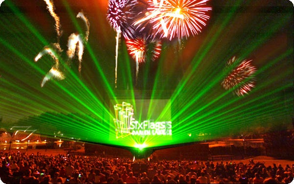 Darien Lake Theme Park and Resort in upstate New York features a laser show designed by a laser pioneer, Doug McCullough, who started out creating shows for rock bands.