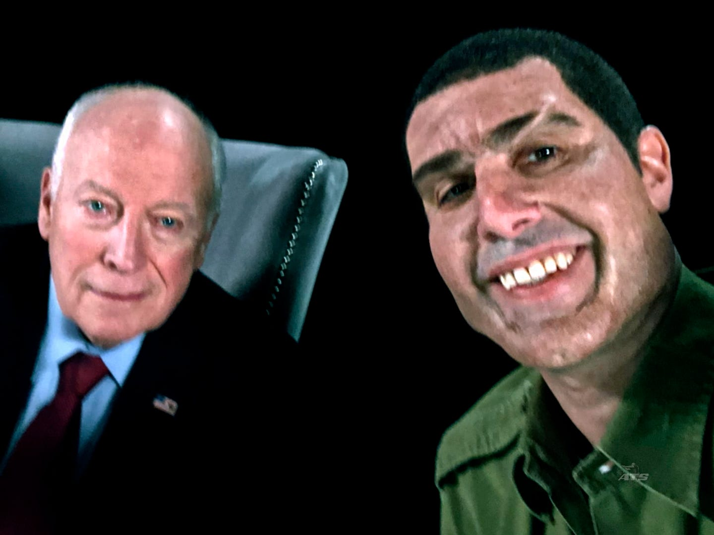 """This image released by Showtime shows former Vice President Dick Cheney, left, and actor Sacha Baron Cohen, portraying retired Israeli Colonel Erran Morad in a still from """"Who Is America?"""""""