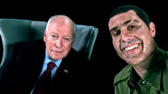 "This image released by Showtime shows former Vice President Dick Cheney, left, and actor Sacha Baron Cohen, portraying retired Israeli Colonel Erran Morad in a still from ""Who Is America?"""