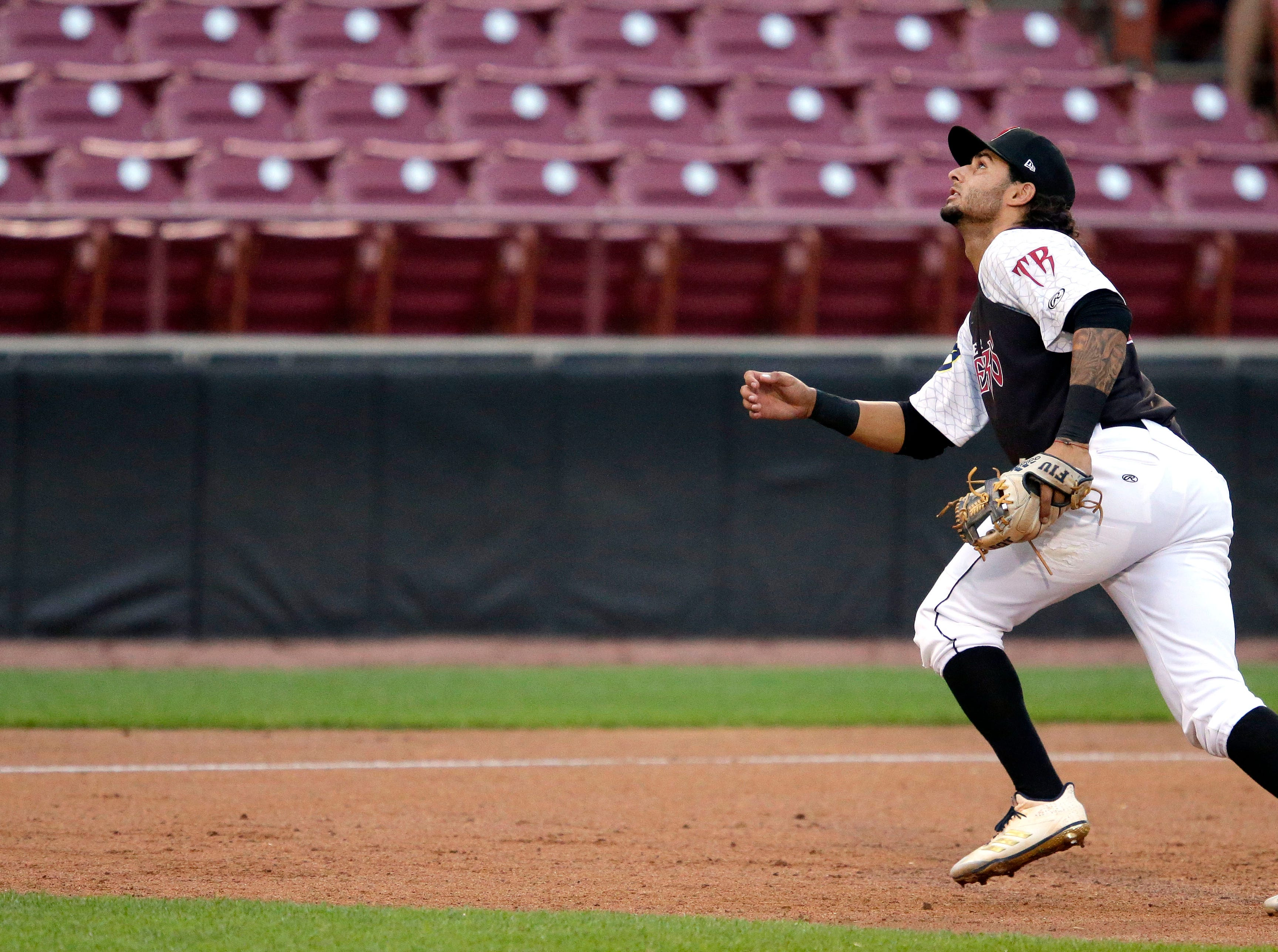Eddie Silva of the Wisconsin Timber Rattlers plays against the Burlington Bees Thursday, August 2, 2018, at Neuroscience Group Field at Fox Cities Stadium in Grand Chute, Wis.Ron Page/USA TODAY NETWORK-Wisconsin