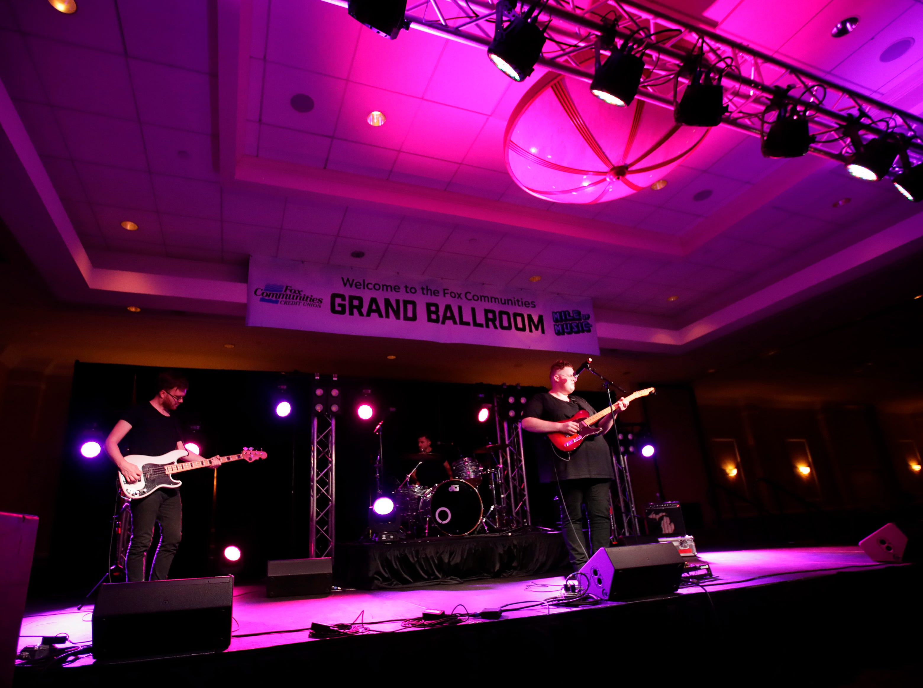 Michigander performs at the Red Lion Paper Valley Grand Ballroom during the second day of Mile of Music Friday, Aug. 2, 2018, in Appleton, Wis.