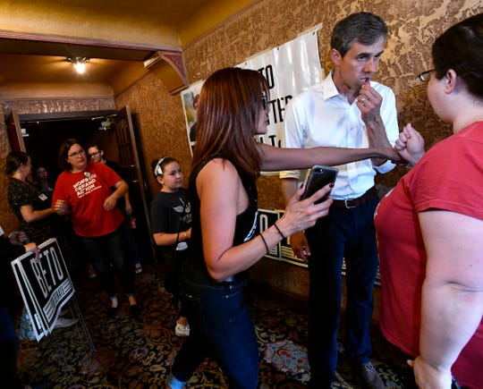 U.S. Senate candidate Beto O'Rourke listens to one of the attendees in the picture line after a town hall meeting Thursday August 2, 2018 at the Paramount Theatre. Five Democratic candidates spoke to a crowd of nearly 800 people.