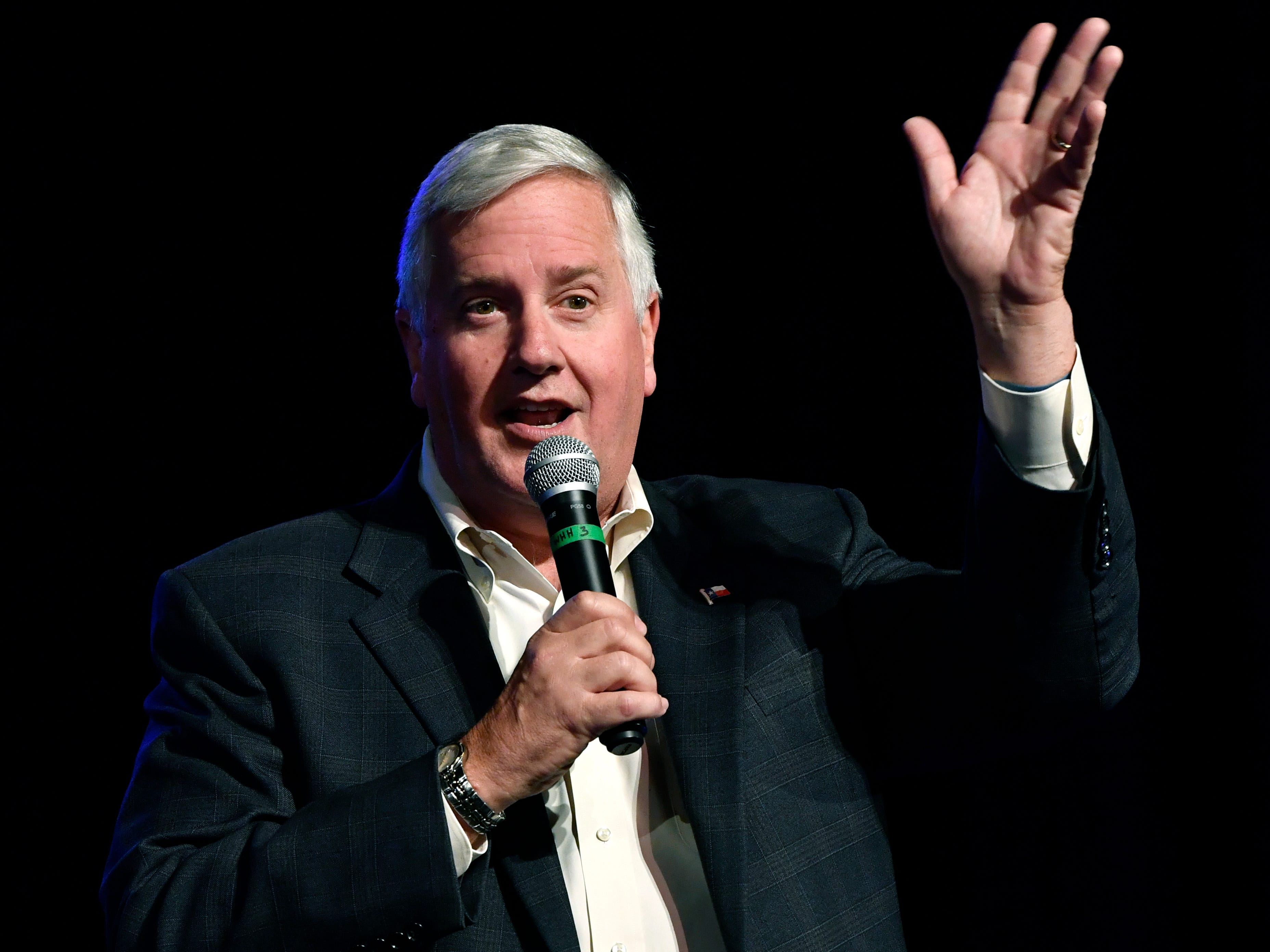 Mike Collier, a Houston CPA running for lieutenant governor, makes his remarks during Thursday's town hall meeting at the Paramount Theatre August 2, 2018.   Collier stressed his commitment to public education and promised to return benefits taken from retired teachers. Five Democrats, including U.S. Senate candidate Beto O'Rourke, spoke to a crowd of nearly 800 people.
