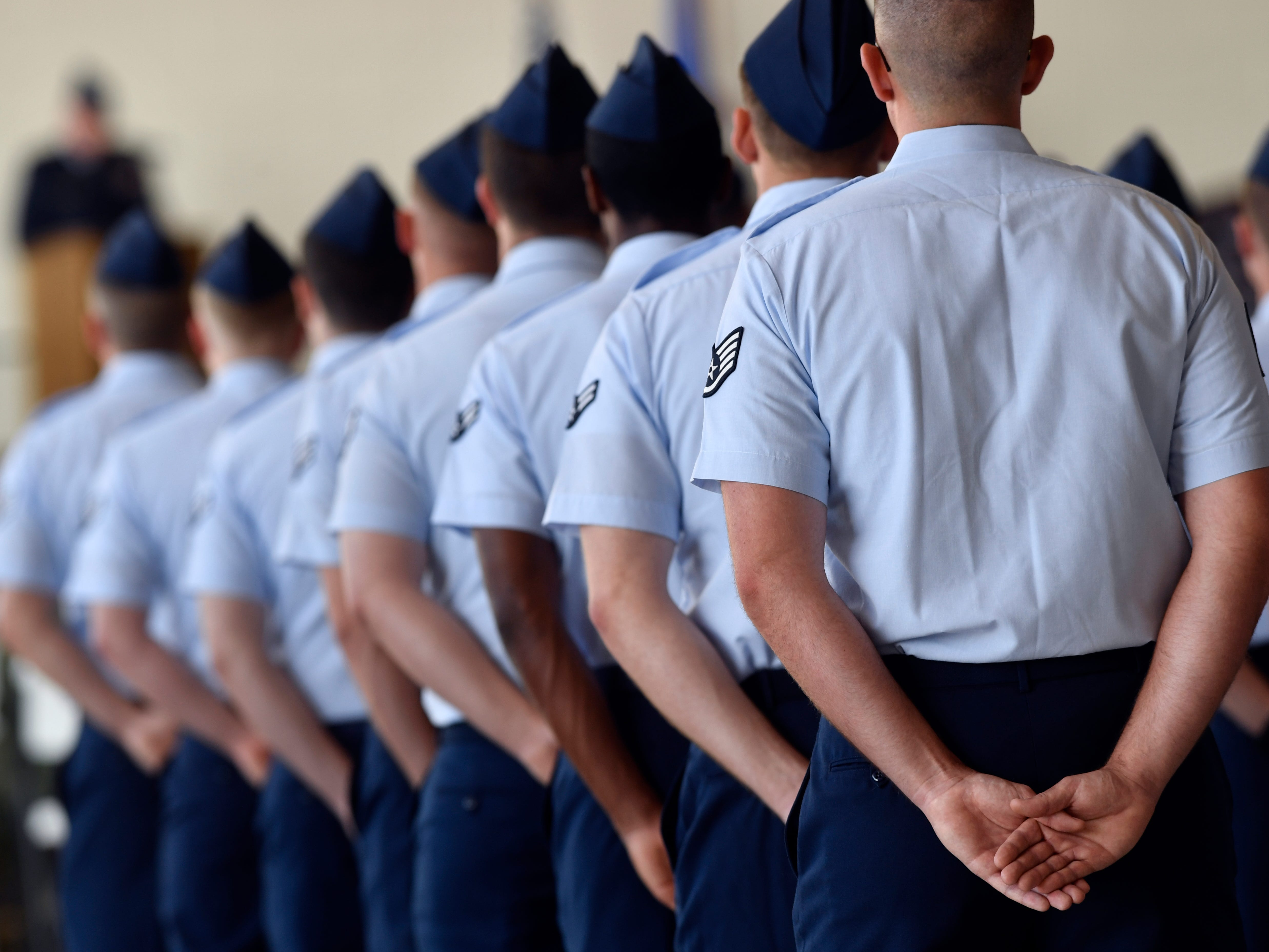 Members of the 317th Airlift Wing stand at parade rest during their unit's assumption of command Friday August 3, 2018 at Dyess Air Force Base. Col. Jeffrey Menasco was given command of the wing by Major Gen. Sam Barrett, Commander of the 18th Air Force.