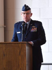 Maj. Gen. Sam Barrett, commander of the 18th Air Force, makes his remarks during the 317th Airlift Wing assumption of command Friday  at Dyess Air Force Base. Col. Jeffrey Menasco was given command of the wing by Barrett during the ceremony.