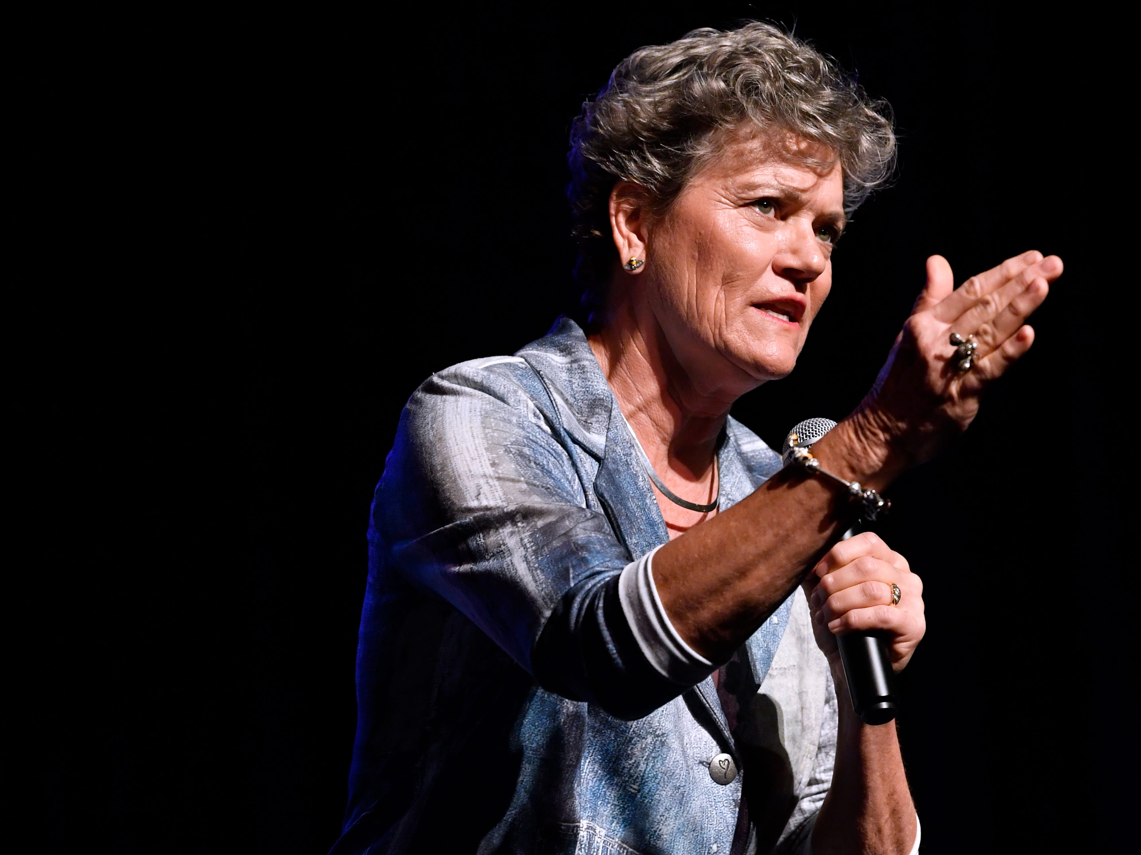 Kim Olson, the Democratic candidate for Texas Agriculture Commissioner, speaks during a town hall meeting Thursday August 2, 2018 at the Paramount Theatre. Five Democrats, including U.S. Senate candidate Beto O'Rourke, spoke to a crowd of nearly 800 people.