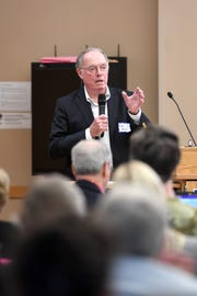 Dr. John Ball, chair of the Mission Health Board of Directors, speaks  and answers questions during the WNC Conversion Health Foundation Forum at UNC Asheville on Friday, Aug. 3, 2018. The symposium focused on the Dogwood Health Trust, the successor foundation formed from the proceeds of the proposed sale of Mission Health to HCA Healthcare.