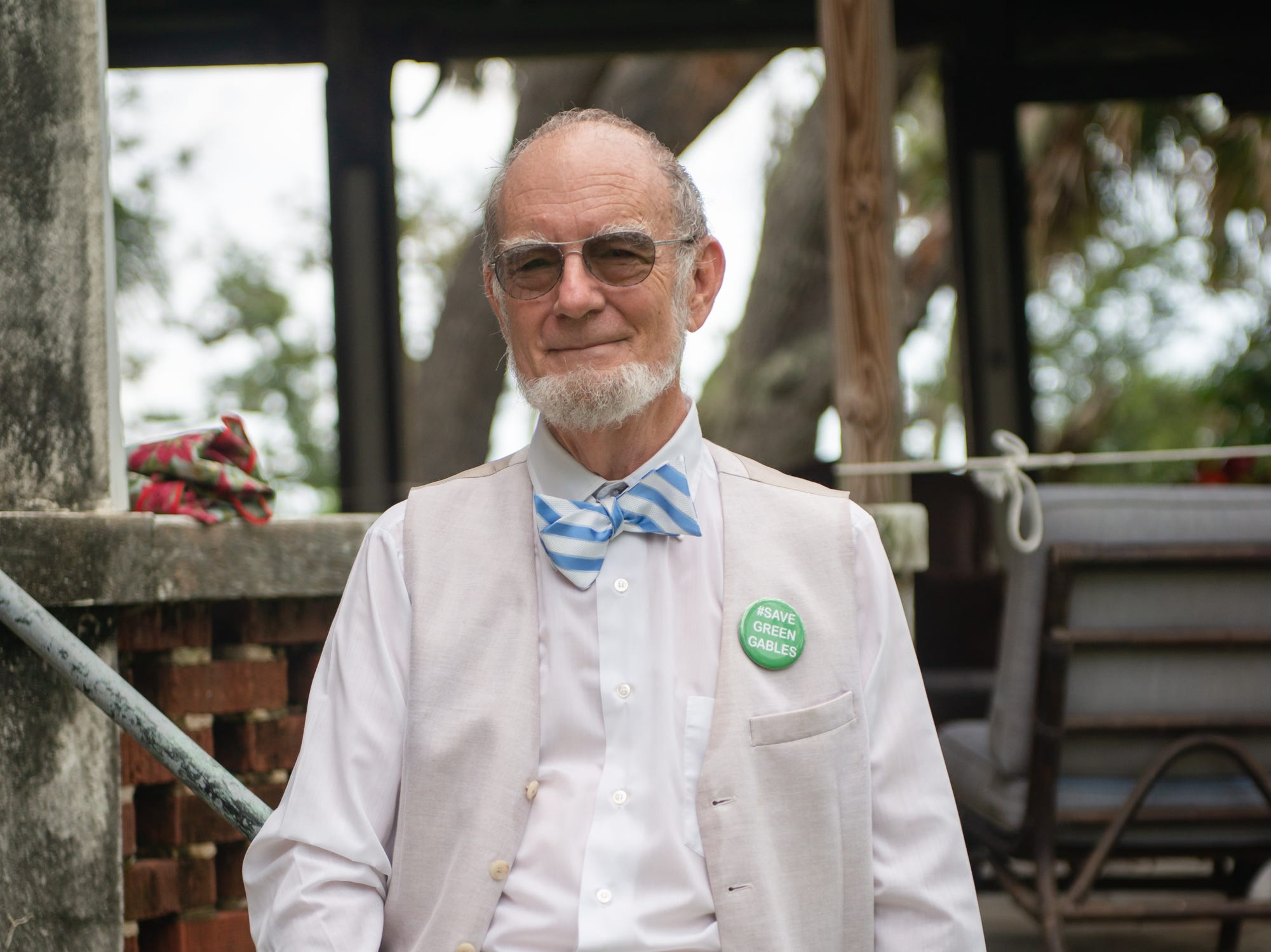 John Daly, president of Green Gables at Historic Riverview Village, Inc., at the Christmas in July event, which raised money to restore the Green Gables Victorian house in Melbourne.