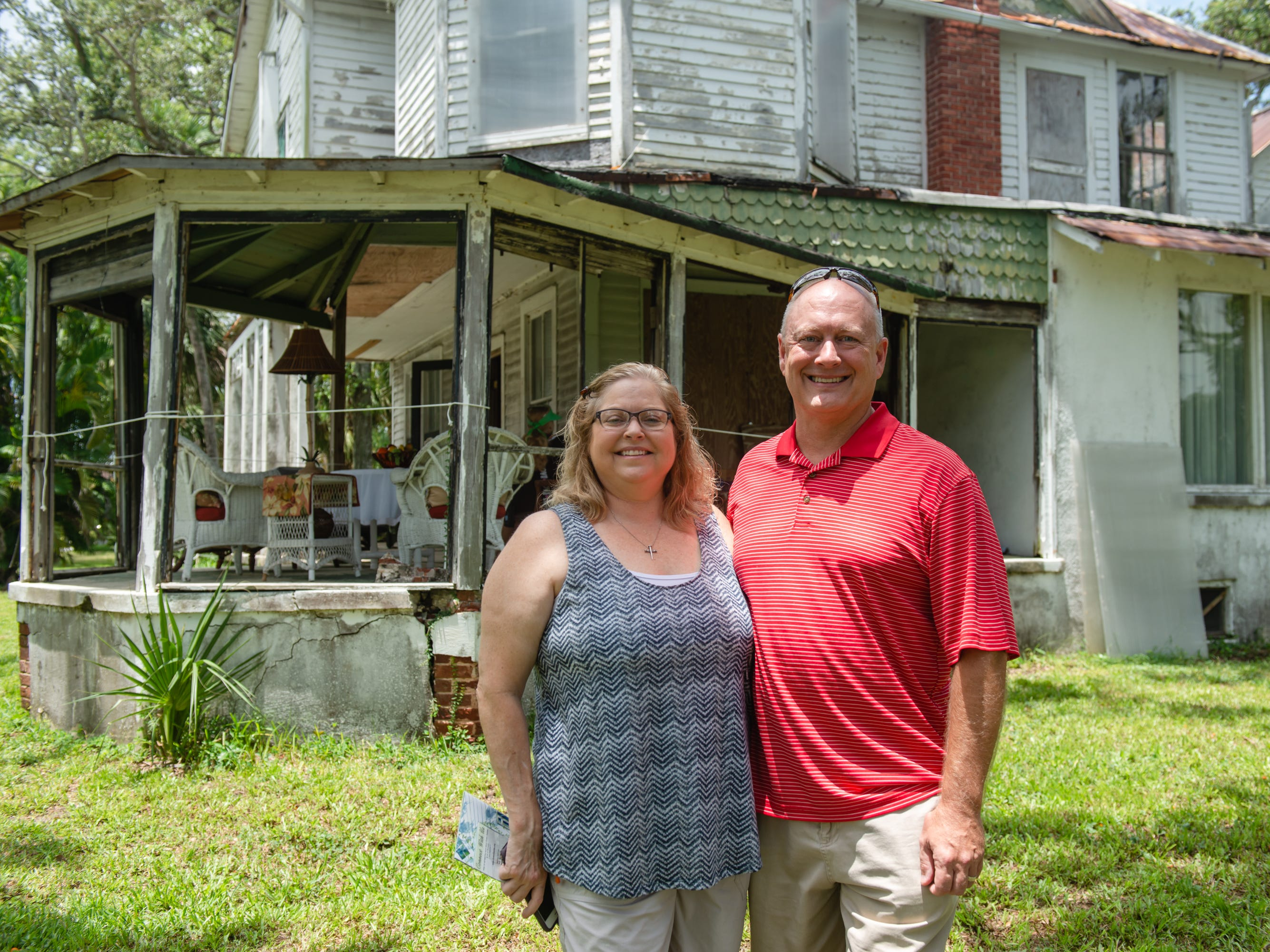 Missy and Curtis Meador at the Christmas in July event, which raised money to restore the Green Gables Victorian house in Melbourne.