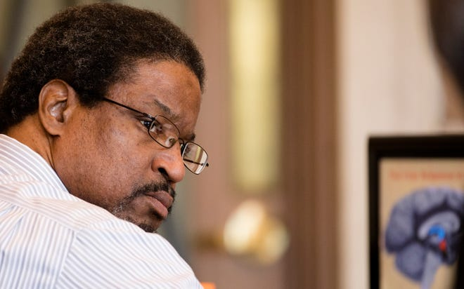 """Convicted serial killer Anthony Kirkland, 49, looks on during his re-sentencing on Friday Aug. 3, 2018, at the Hamilton County Courthouse in Cincinnati. Kirkland is was convicted of the deaths of Casonya """"Sharee"""" Crawford, 14, in 2006 and Esme Kenney, 13, in 2009. He is serving a life sentence in two other murders."""